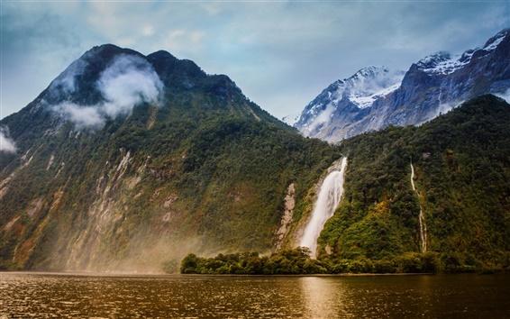 Wallpaper Bowen River, Milford Sound, New Zealand, waterfalls, mountains