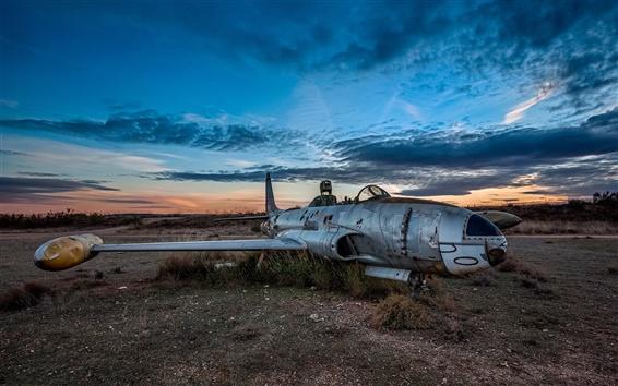 Wallpaper Broken airplane, nature, dusk