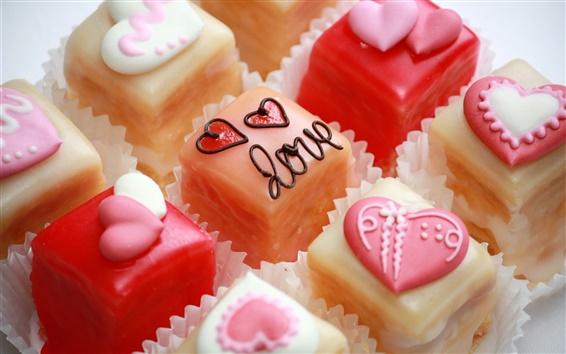 Обои Конфеты, продукты питания, сердца, десерт