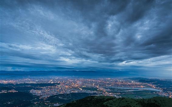 Wallpaper China, Taiwan, Taipei City, evening, twilight, dark blue, lights