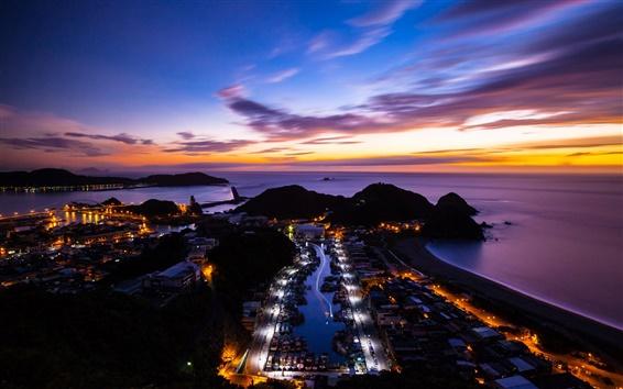 Fond d'écran Chine, Taiwan, île, océan, coucher de soleil, la ville de nuit
