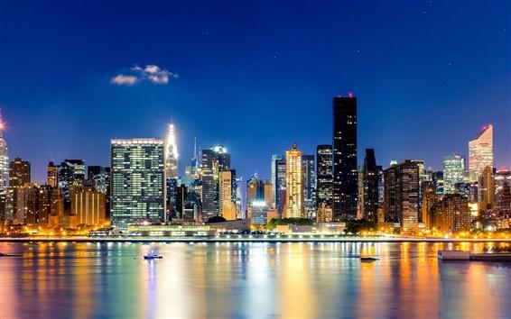 Wallpaper City, New York, Manhattan, night, skyscrapers, buildings, lights, water