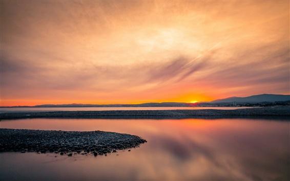 Wallpaper Coast, bay, calm morning, sunrise