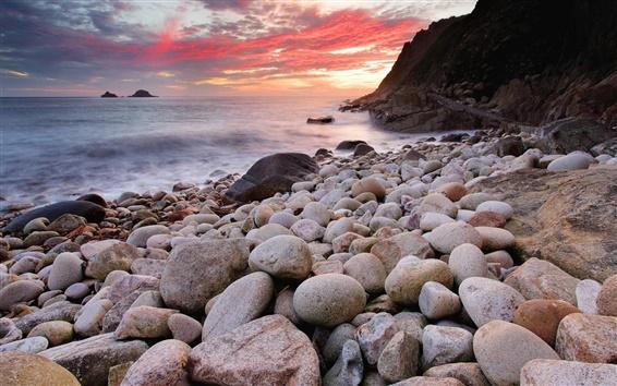 壁紙 海岸の風景、夕日、海、岩