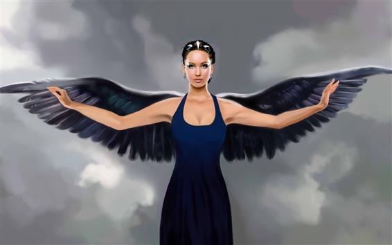 Обои Фэнтези искусство ангел, крылья черные, синее платье