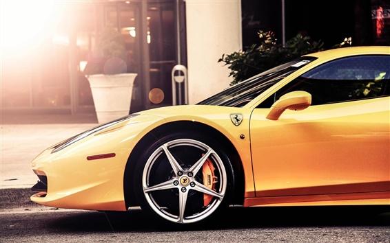 Обои Ferrari 458 Italia вид желтый суперкар сторона