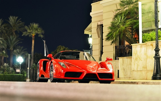 Wallpaper Ferrari Enzo red supercar, city of Monaco, night