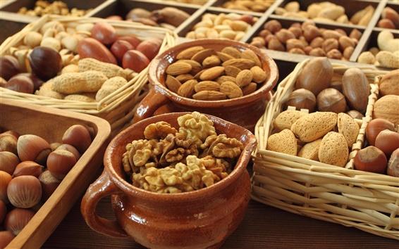 Wallpaper Food, nuts, almond, walnut, acorn, basket, pots