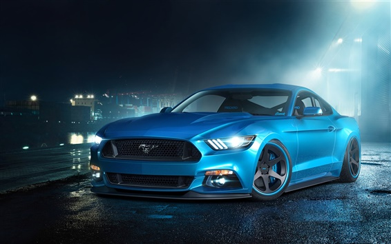 Wallpaper Ford Mustang GT blue supercar