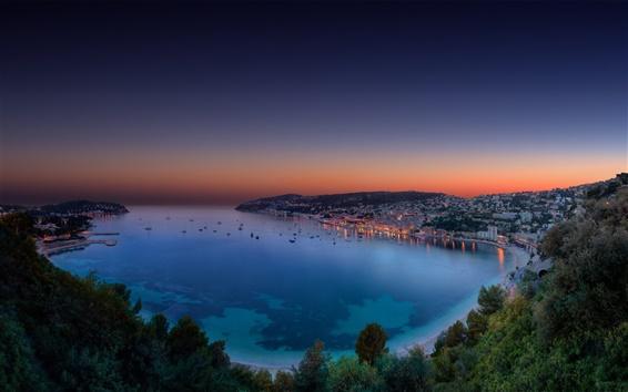 Fondos de pantalla Riviera francés, panorama noche, bahía, anochecer, puesta del sol, Mónaco