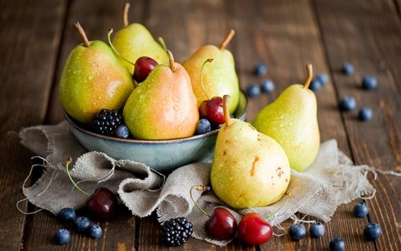 Wallpaper Fruits, pears, cherries, blackberries, blueberries