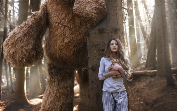 Wallpaper Girl in the forest, big bear, toy