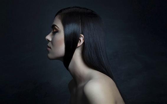 Fond d'écran Portrait de fille, maquillage, coiffure