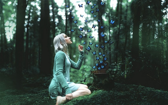 Wallpaper Girl with butterfly in the forest, design