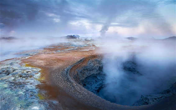 Wallpaper Iceland, geothermal source, mist