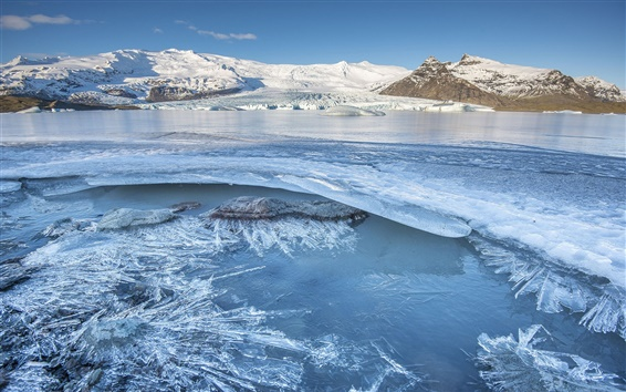 Papéis de Parede Islândia, montanhas, gelo, inverno, congelado