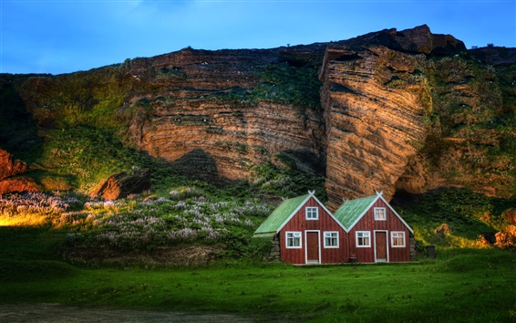 Wallpaper Iceland scenery, mountain, rock, hut, sunlight, dusk