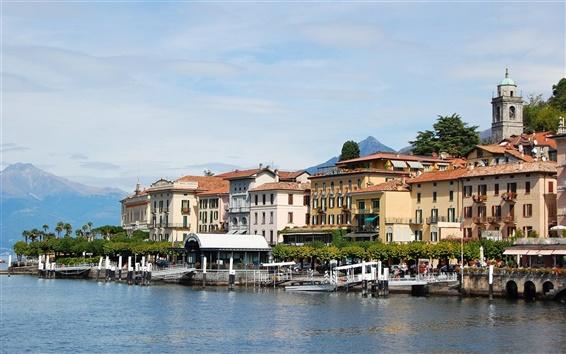 Fond d'écran Italie, Lac de Côme, Lombardie, bâtiments, pilier, montagnes