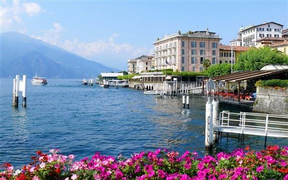 Fond d'écran Italie, Lombardie, ville, maisons, mer, fleurs
