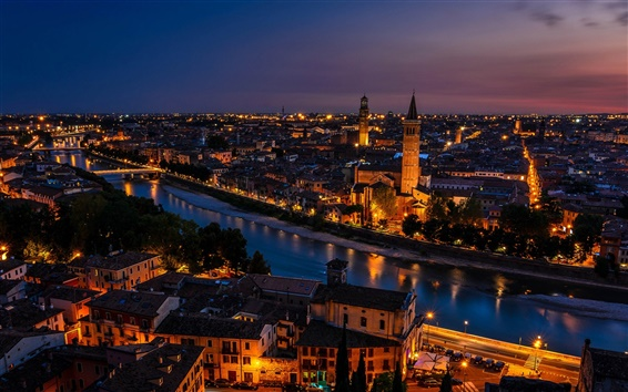 Wallpaper Italy, Verona, city, houses, sunset, dusk, lights