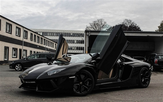 Wallpaper Lamborghini Aventador Lp700 4 Black Supercar Side View