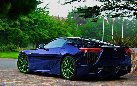 Обои Lexus 324 синий автомобиль вид сзади