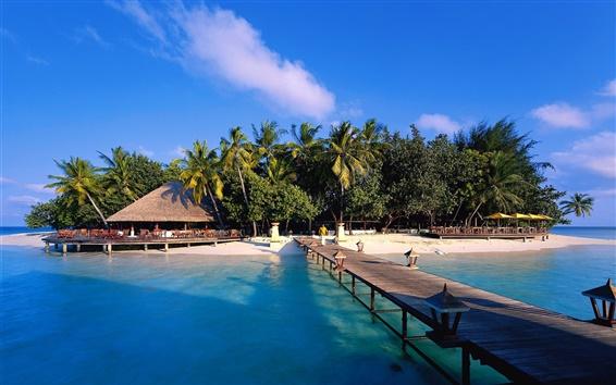 Обои Мальдивские о-ва, остров, пляж, мост, дом, деревья, небо, море