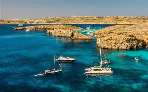 Wallpaper Malta scenery, sea, rocks, yachts