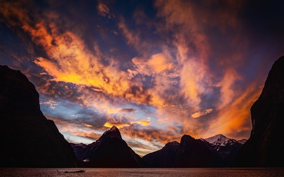 Wallpaper Milford Sound, New Zealand, sunset, mountains, sea, clouds
