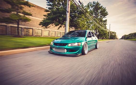 Wallpaper Mitsubishi Lancer EVO 8 supercar, green, road
