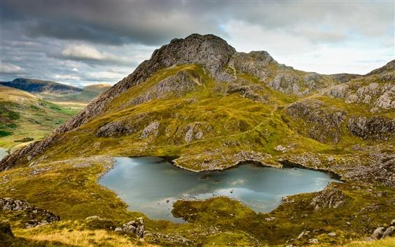 Wallpaper Mountains, hill, rocks, lake, moss, grass