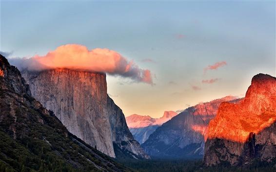 Papéis de Parede Montanhas, árvores, floresta, céu, nuvens, Parque Nacional de Yosemite, EUA