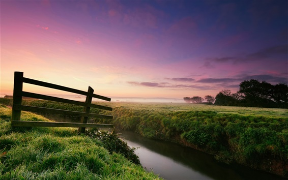 Fond d'écran Nature paysage, matin, rosée, herbe, barrière, rivière, brume, arbres