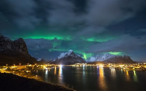Fond d'écran Norvège, les îles Lofoten, nuit, lumières du nord, côte, les feux