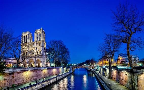 Wallpaper Notre Dame de Paris, France, city, night, trees, bridge, river, lights