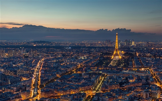 Wallpaper Paris, France, beautiful night, Eiffel Tower, city, evening, lights