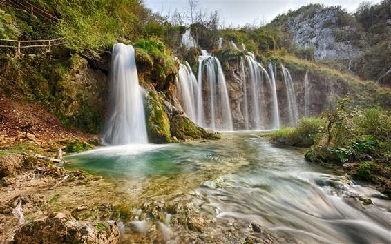 Обои Национальный парк Плитвицкие, природа пейзаж, водопады, реки