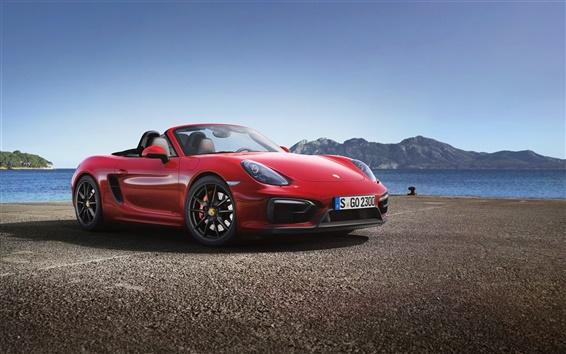 Wallpaper Porsche Boxster GTS red supercar