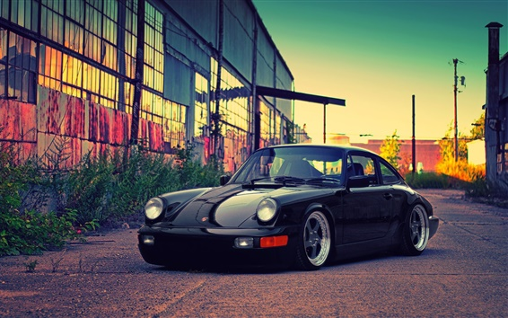 Wallpaper Porsche black car, building, dusk