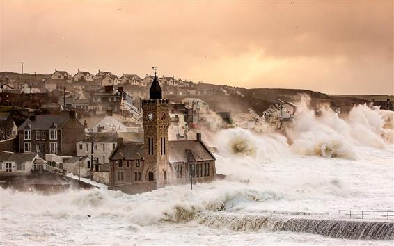 Fond d'écran Porthleven, Angleterre, Royaume-Uni, maisons, tempête