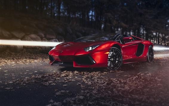 Wallpaper Red Lamborghini Aventador LP700-4 supercar at night