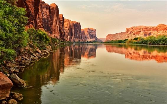Wallpaper River, rock mountains, dusk