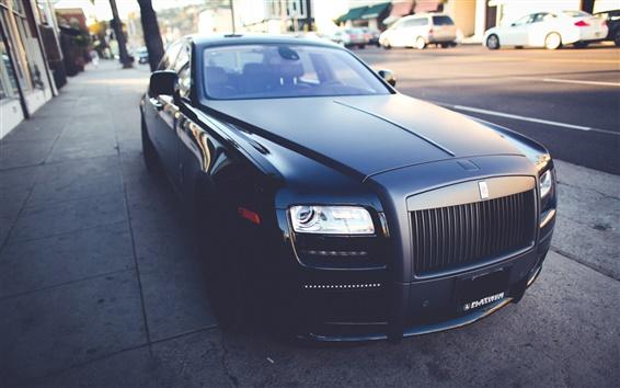 Обои Rolls-Royce, черная матовая роскошный автомобиль