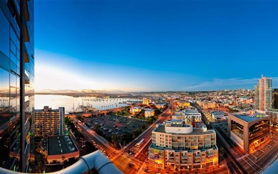 배경 화면 샌디에고, 도시, 거리, 건물, 일몰