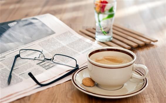 Papéis de Parede Still life, mesa de madeira, óculos, jornal, café