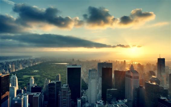 Papéis de Parede Cidade do sol, New York, arranha-céus, céu, nuvens