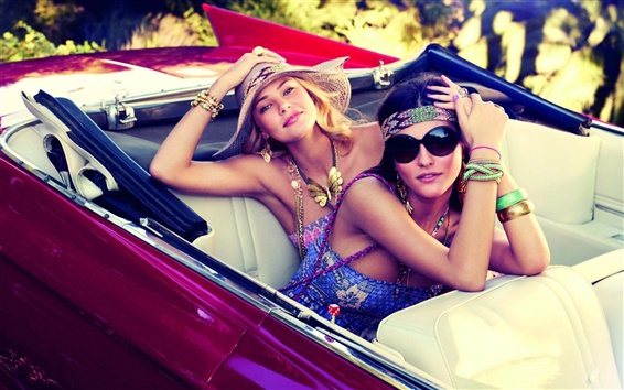 Wallpaper Two girls in supercar