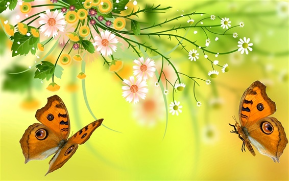 Wallpaper Vector flowers, butterfly, design