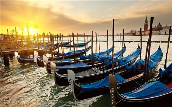 Papéis de Parede Veneza, Itália, manhã, nascer do sol, canal, cais, barcos