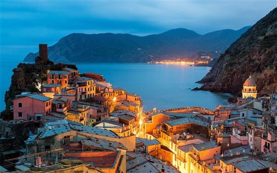 Wallpaper Vernazza, Italy, Cinque Terre, Liguria, evening, city, lights, houses